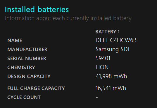 ヘタっているバッテリーのBattery Report